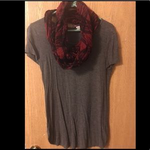 Gray t-shirt WITH red and black scarf. Size L
